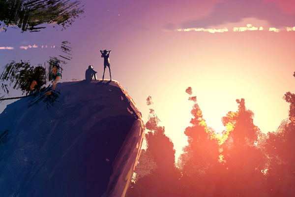 Pascal Campion drew this sketch of hikers on a rock greeting  sunrise or sunset as part of his daily creative practice