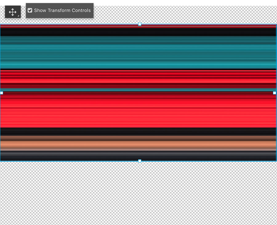 Adobe Photoshop move tool selected, Show Transform Controls is checked, canvas shows rectangle of multi colors stretched