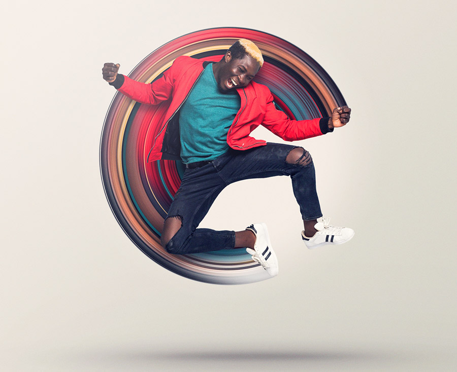 Final image of man jumping with polar coordinates composition behind him