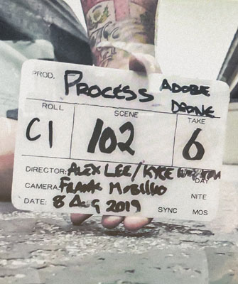 movie clapboard from set of video BRTHR shot for Adobe about the creative process
