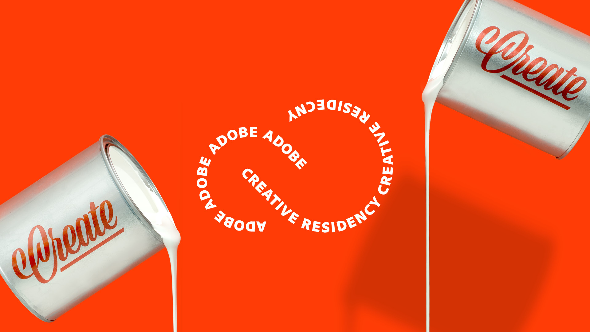 "image of two cans labeled ""create"" and the words ""Adobe Creative Residency"""