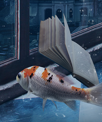 Fish in water looks out a window with a book floating next to it