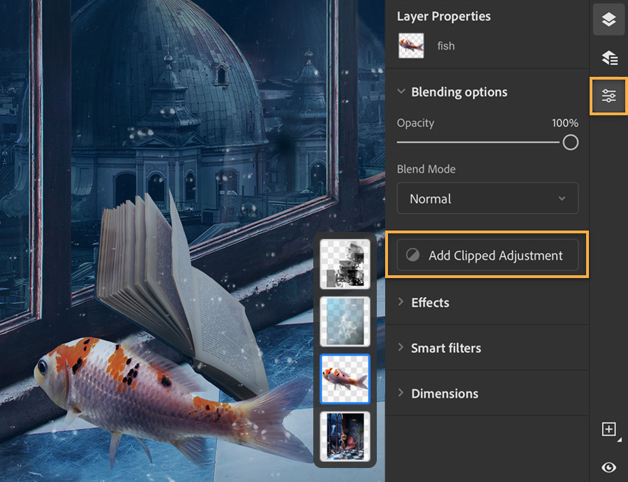 Photoshop layers panel shows on right with Add Clipped Adjustment selected for fish image layer