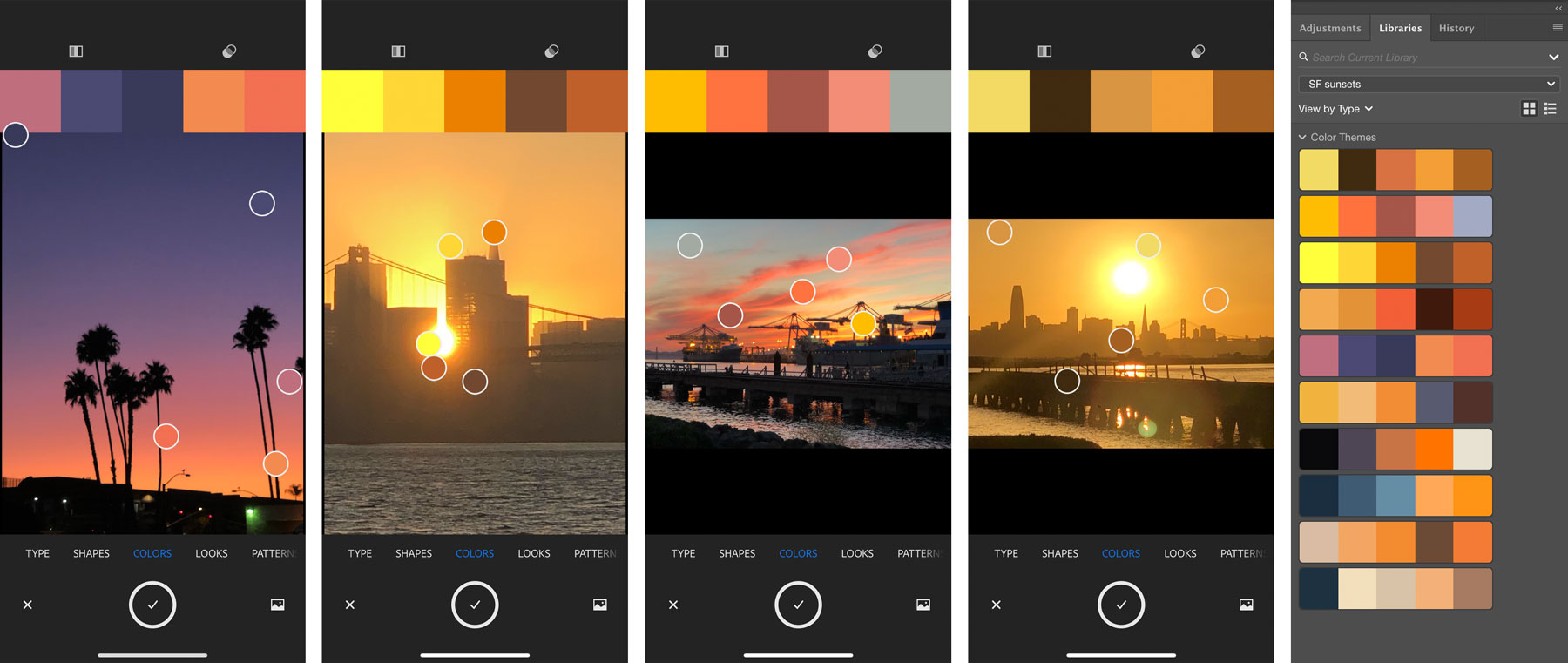 Adobe Capture screens of sunsets, and the 10 color themes in an Adobe app