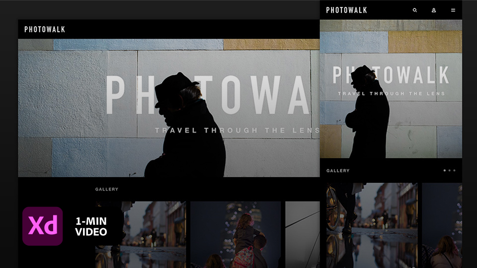 Photowalk responsive website design demo asset shown at desktop and mobile widths with Adobe XD logo at lower left