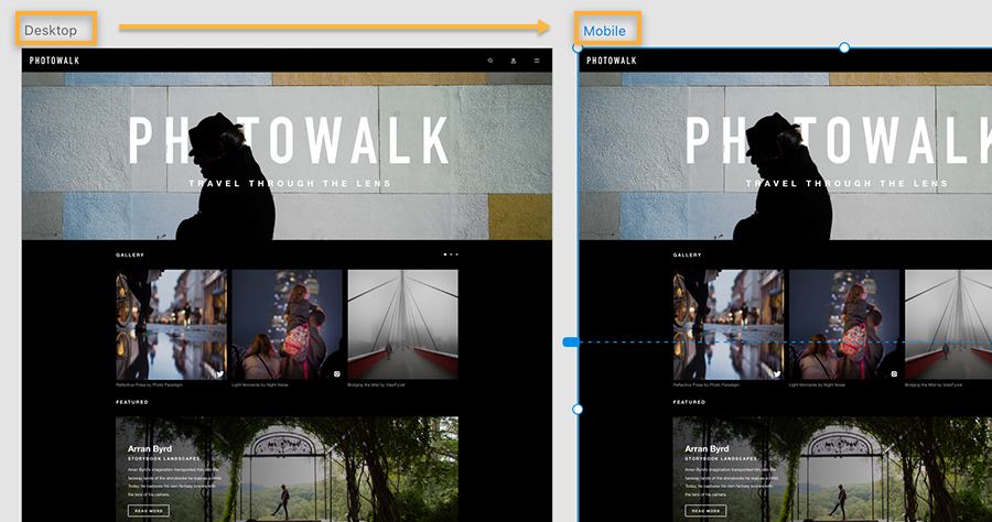 Two artboards show the same Photowalk web design asset; the first is named 'desktop' second one is named to 'mobile'