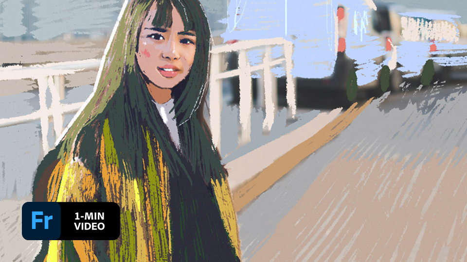 Girl with long hair and a jacket in a crosswalk. Most of the scene is a drawing and part of original photo shows through. The Adobe Fresco logo is in the corner of the image.