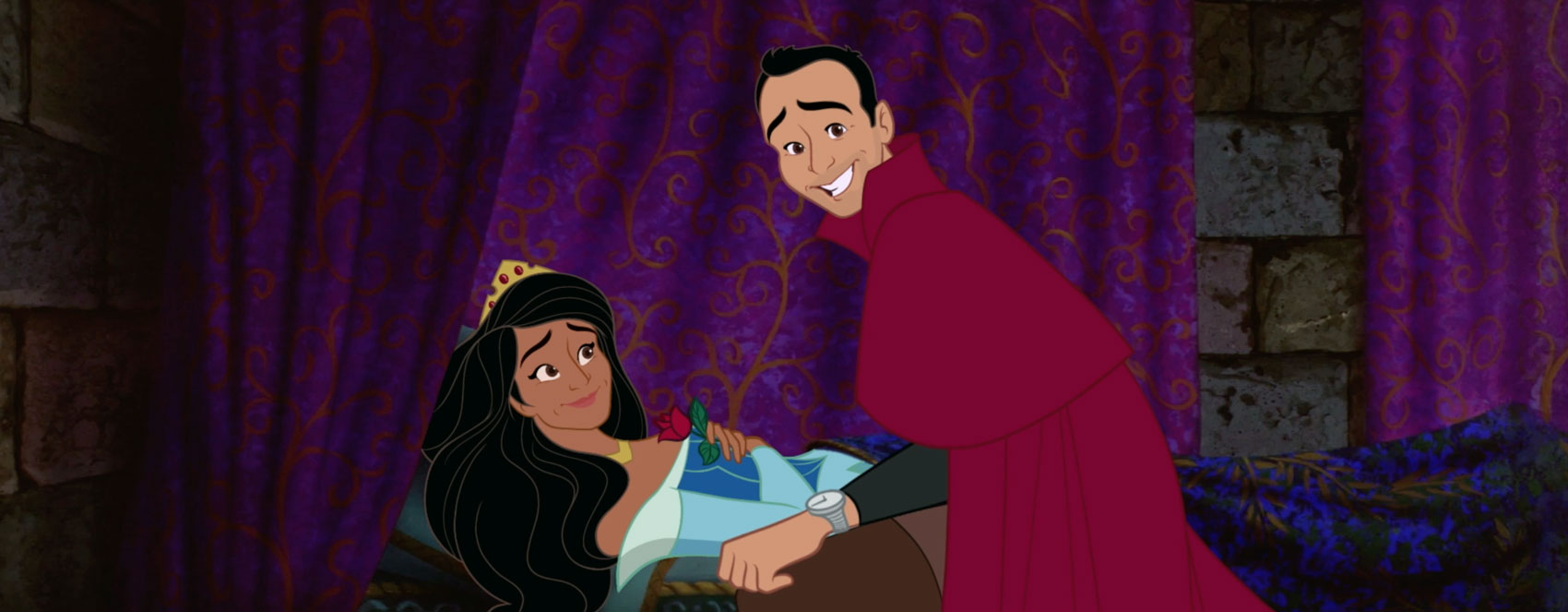 animated still from the re-imagined Sleeping Beauty showing Sthuthi David, AKA the princess, and Lee Loechler, AKA the prince