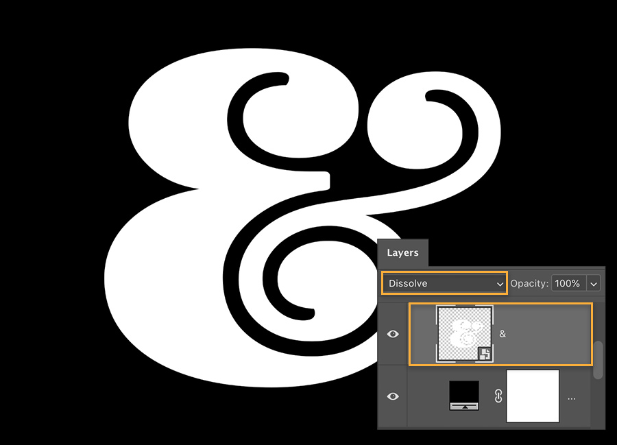 White ampersand is on a black background & Layers panel shows the ampersand is a smart object and Dissolve blend mode is set