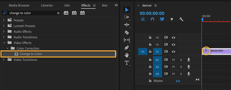 Premiere Pro Effects panel on the left has Change to Color highlighted, timeline on right shows effect applied to video clip