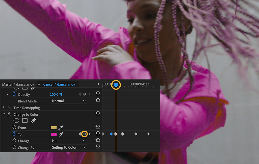 Timeline shows 6 keyframes for the To color property, the playhead is on the 3rd keyframe, the dancer's jacket is fuchsia