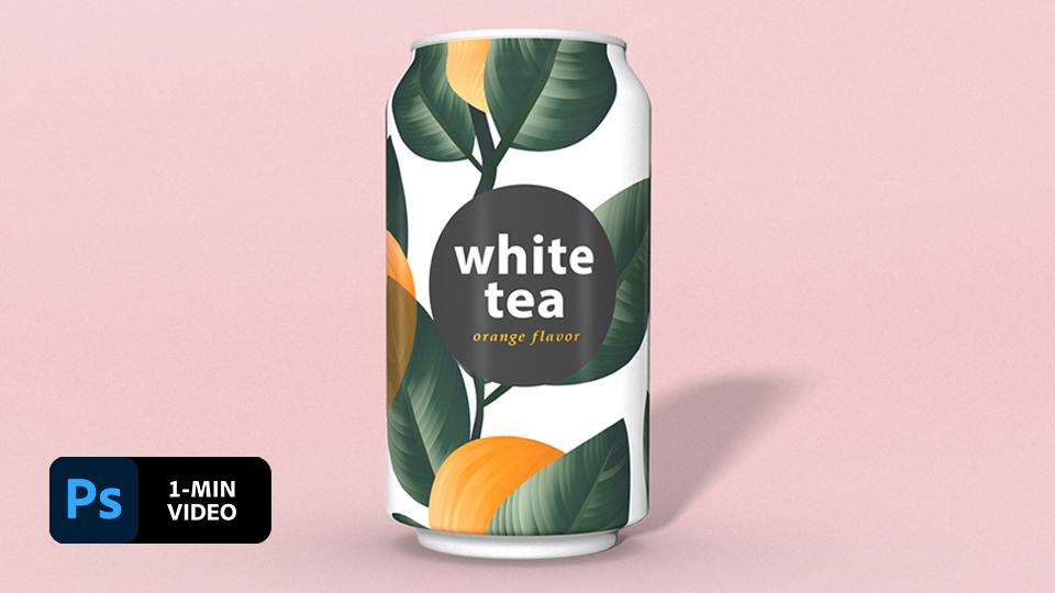 Soda can with label including a branch with orange fruit and green leaves with product name of 'White Tea' on pink background