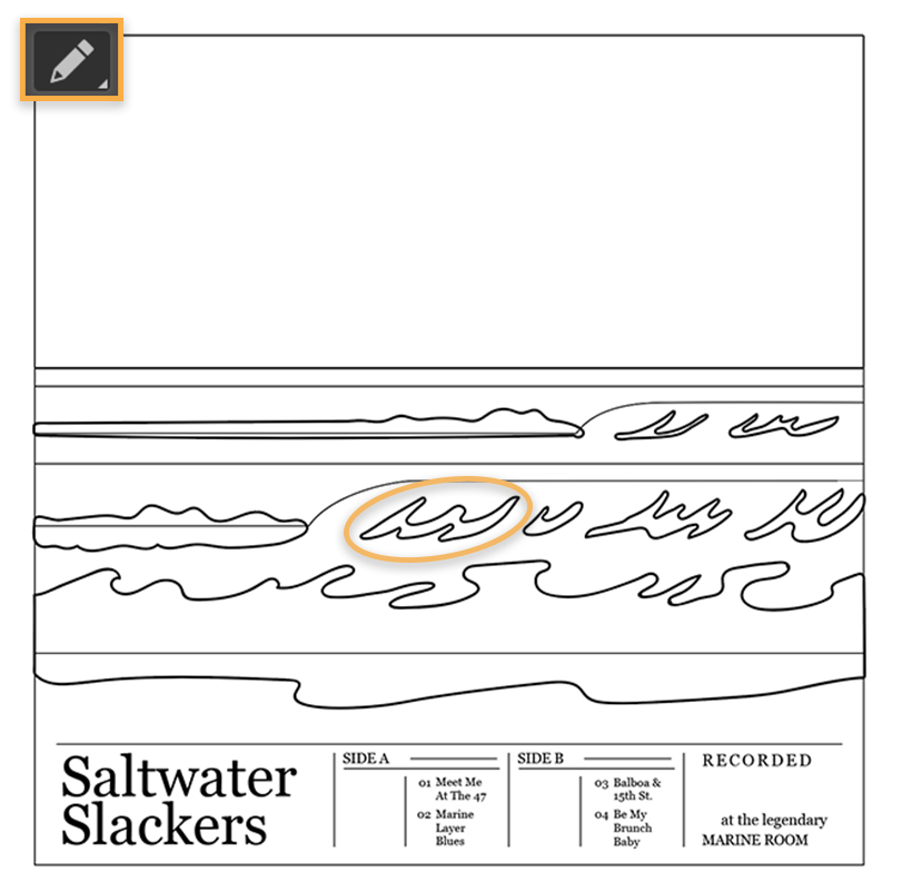 Digital drawing of waves in black outlines, pencil tool at top left, and black type at bottom reads 'Saltwater Slackers'