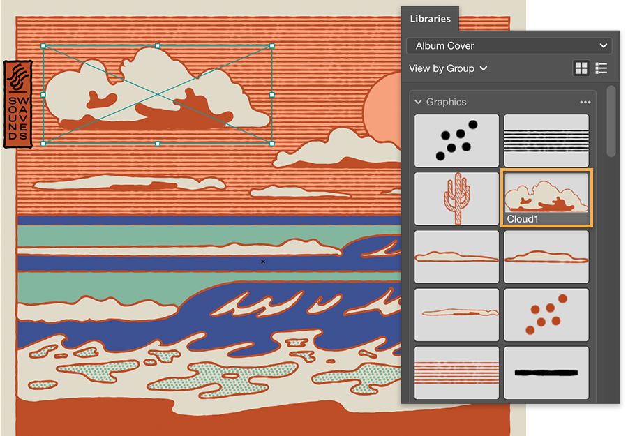 Creative Cloud Libraries panel shows graphics, clouds with orange outlines added to the sky