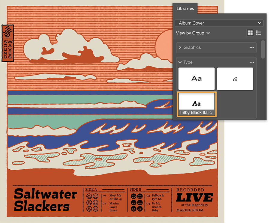 Libraries panel shows Type section, Saltwater Slackers and other album cover text added to the bottom of the artwork