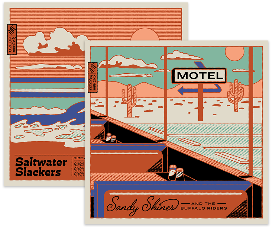 Two album covers show artwork with same color palette and similar graphics, one is beach scene, one is a diner