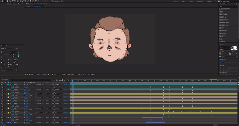 an illustration by Daniel Jamie Williams being imported into After Effects