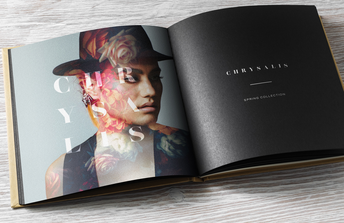 The book mockup layout has model image blended on the left page and the words 'Chrysalis Spring Collection' on the right