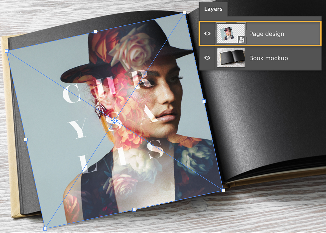 Fashion photo has transform markers applied and is rotated to the left while being placed on the left page of the book mockup