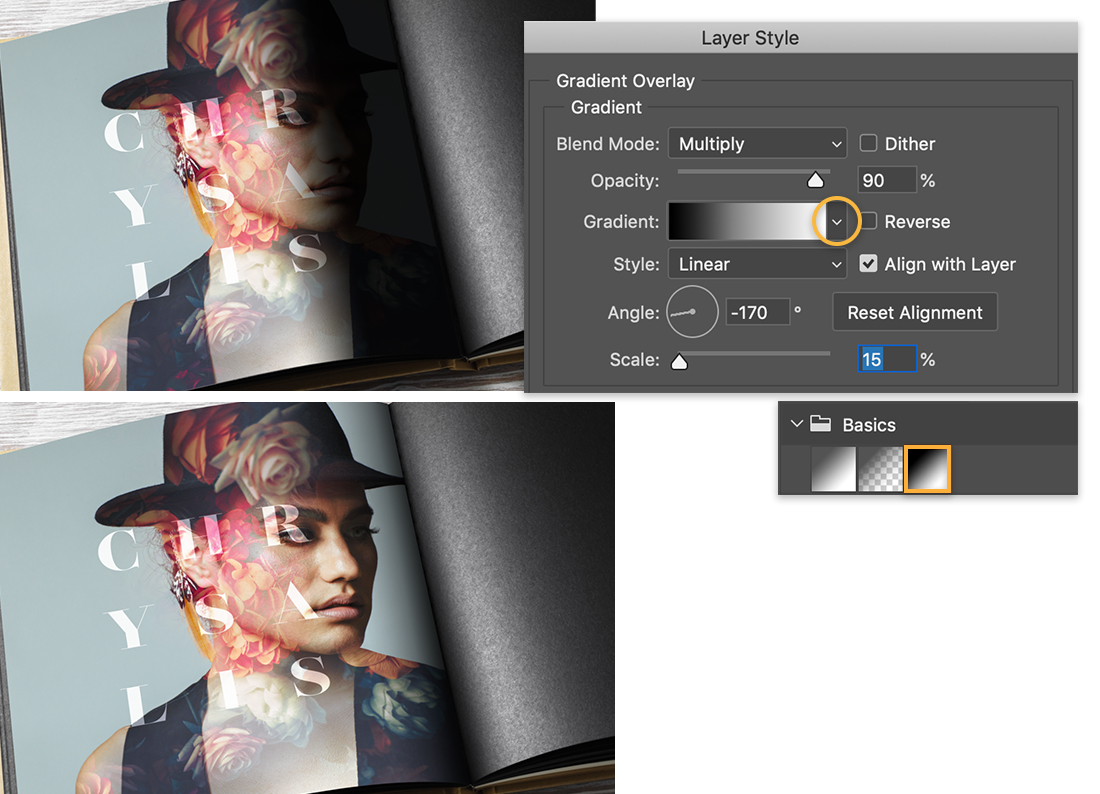 image shows dark shadow in seam, bottom has shadow shifted to the right, Layer Style panel shows black & white gradient