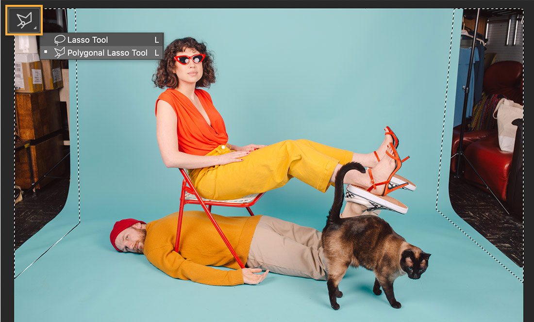 models and a cat pose on a teal backdrop, the studio appears on the left and right and the Lasso tool displays upper left