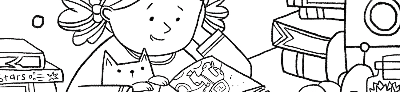 section of illustration drawn for the Adobe Coloring Book by Ema Malyauka.