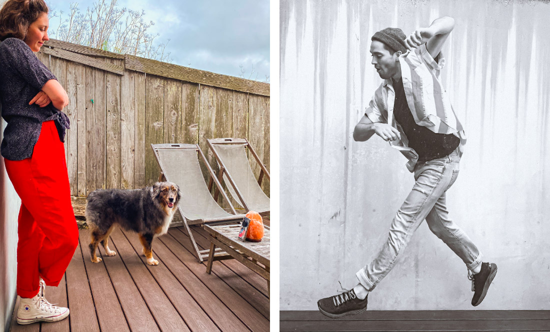 Left: Woman in red pants & a dog stand on wood deck with wood fence; Right: Man jumps in front of concrete wall