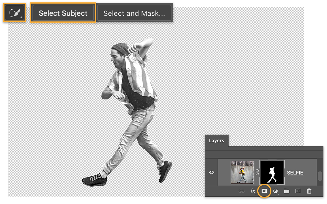 Black & white photo of man jumping, Quick Select tool and Select Subject displays at the top, layer mask on Layers panel
