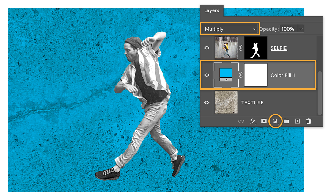 Black & white photo of man jumping; concrete background is blue; Layers panel shows Color Fill layer set to Multiply