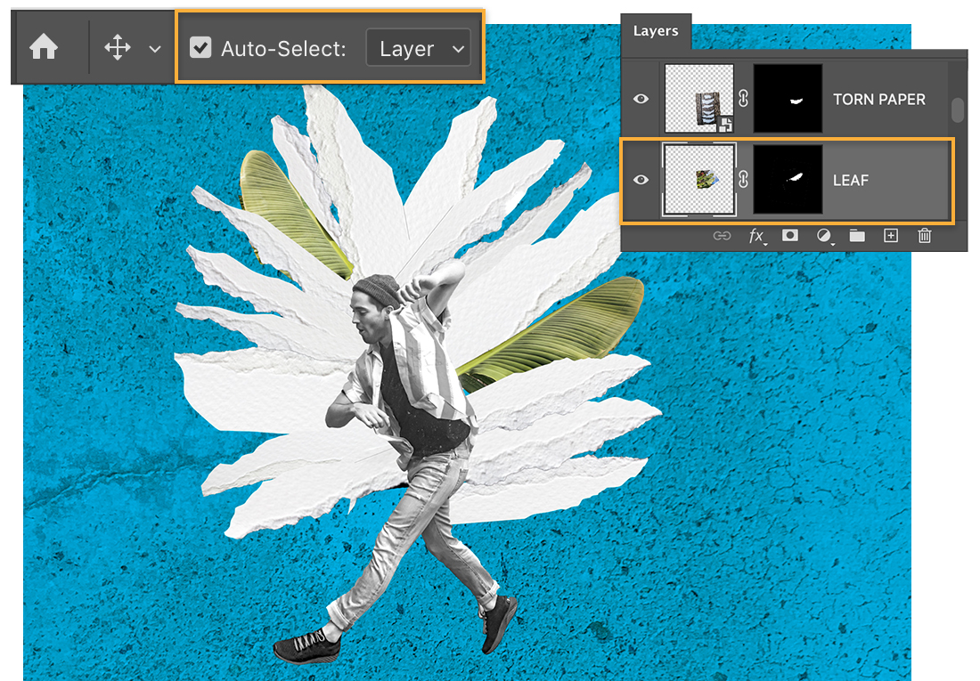 Auto-Select Layer option checked; Leaf shows on Layers panel; multiple torn paper pieces and 2 palm leaves are behind man