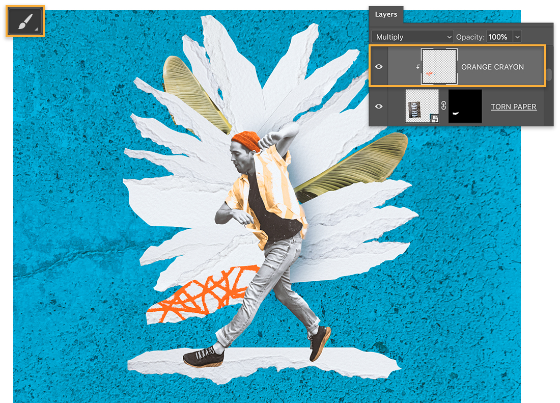 Brush tool is upper left; Orange crayon layer on Layers panel; a torn paper piece has orange scribbles on it