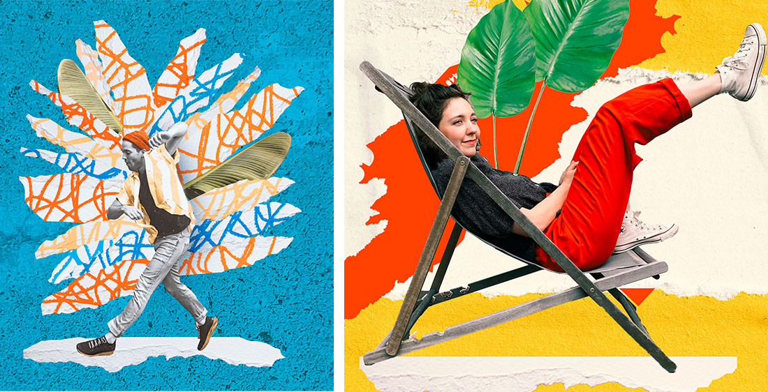 Left: Woman in red pants sits on deck chair against multi-colored wall; Right: Woman sitting with yellow flowers