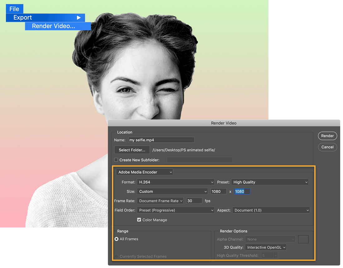 File, Export, Render Menu is upper left, portrait on gradient with Render Video dialog set to H.264 format and 1080x1080 size