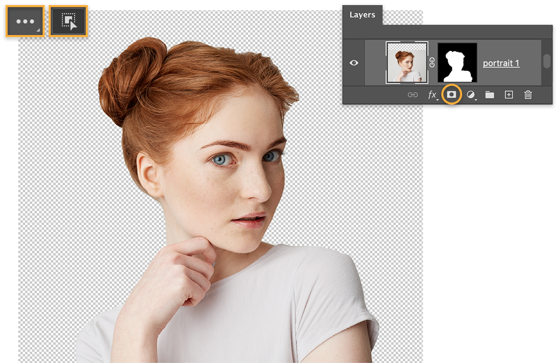 Girl with red hair looks sideways against a transparent background, Object Selection tool, Layers panel with mask on portrait