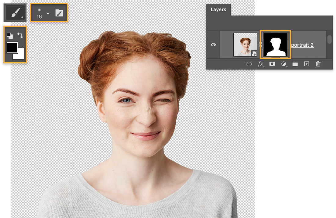 Girl with red hair looks straight ahead & winks, Brush tool set to soft 16-pixel tip, Layer mask highlighted on Layers panel