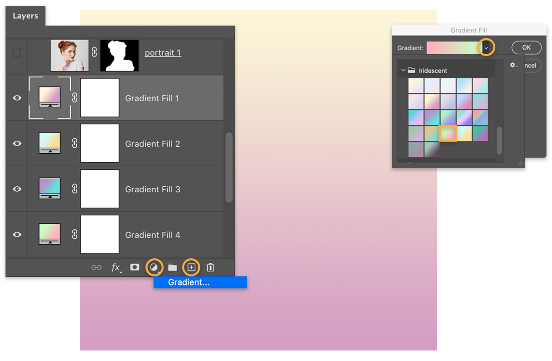 Canvas shows pink & yellow gradient square, Layers panel shows 4 Gradient Fill styles, and Gradient Fill panel shows on right