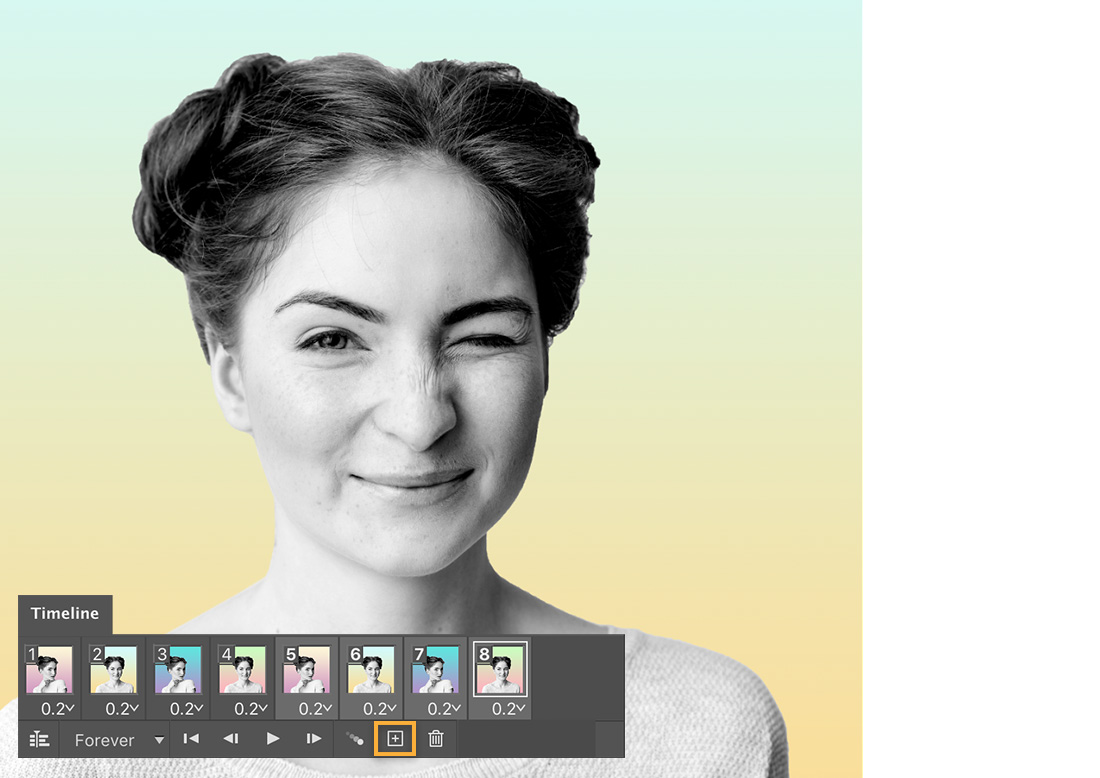 Photo of winking girl on green and yellow gradient background, Timeline shows 8 frames with alternating portraits