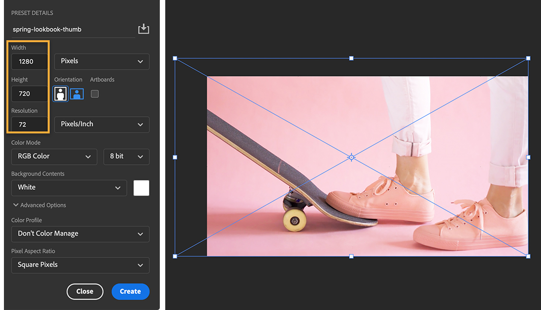Preset details panel shows width=1280, height=720, resolution=72; preview shows image of foot on skateboard with Transform handles