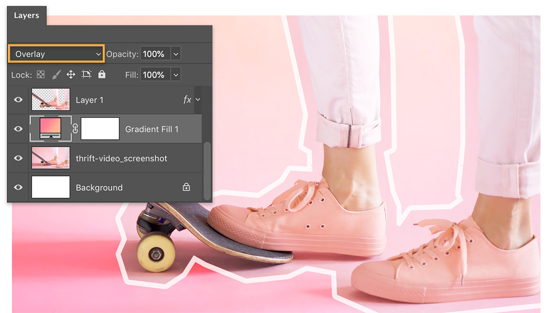 Layers panel shows Overlay blend mode applied to Gradient Fill layer, shadow for skateboard and feet display