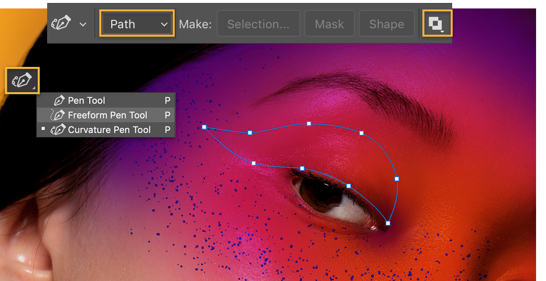 Selection of the model's eyelid was made with the Curvature Pen tool, pen options set to Path and Exclude Overlapping shapes