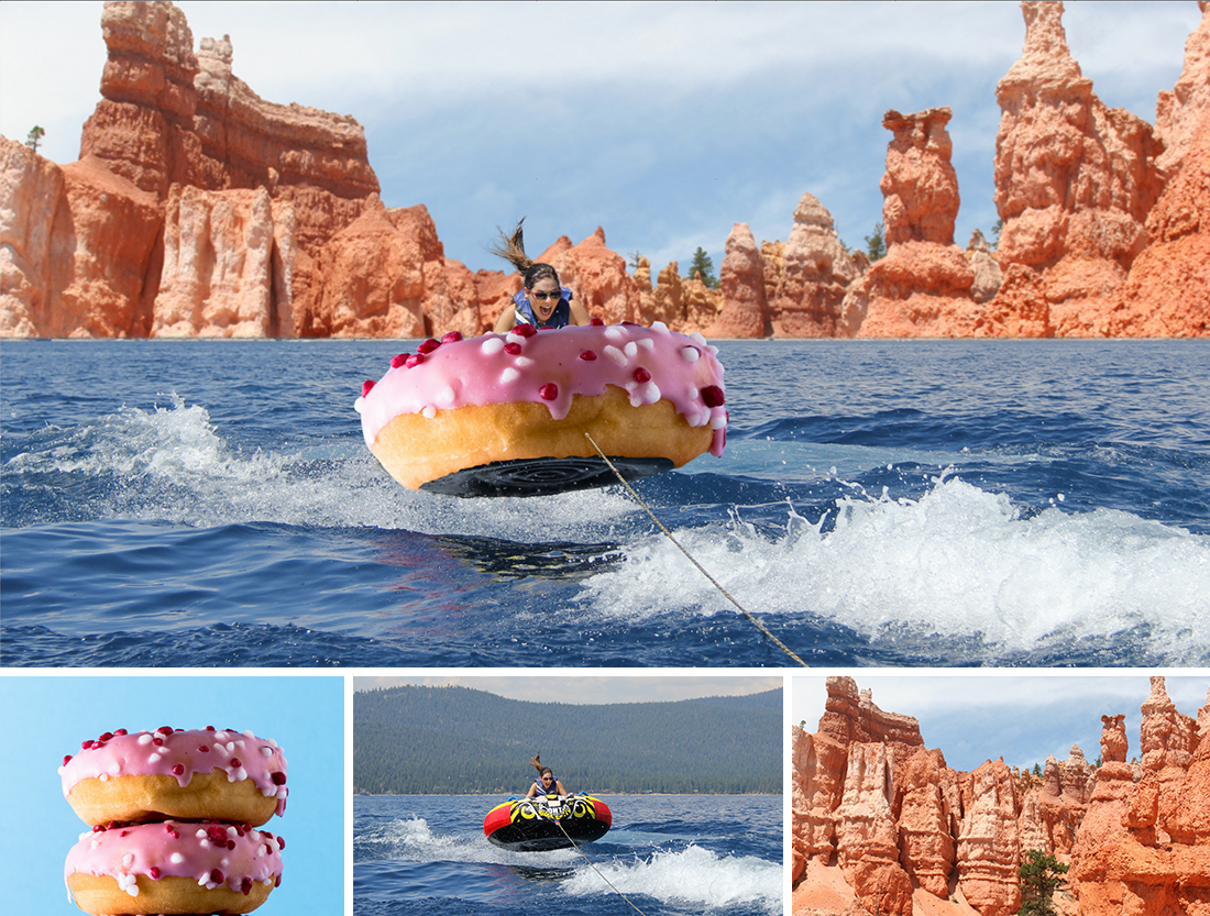 1: Girl in inner tube decorated like a frosted donut on a lake; 2: 2 frosted donuts; 3: girl in inner tube; 4: rock columns