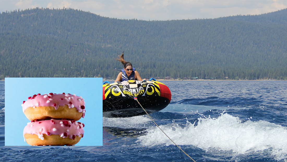 Larger picture of a girl in an inner tube on a lake with a mountain in the background, smaller picture of donuts lower left