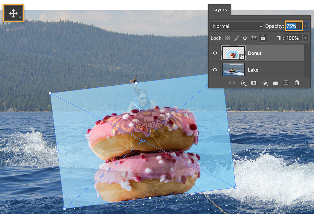 Move tool is upper left; donut image rotated over inner tube on lake; Layers panel shows reduced opacity on donut layer