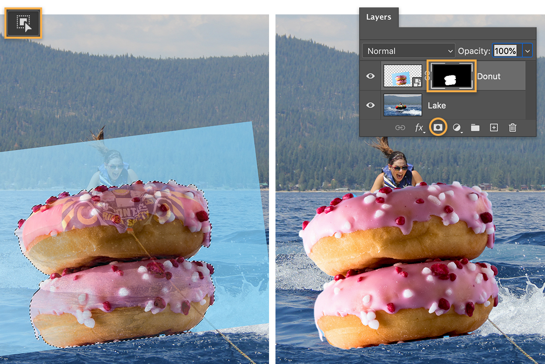Left: Object selection tool over donut image, marching ants around donuts; Right: 2 layers with mask on donut layer
