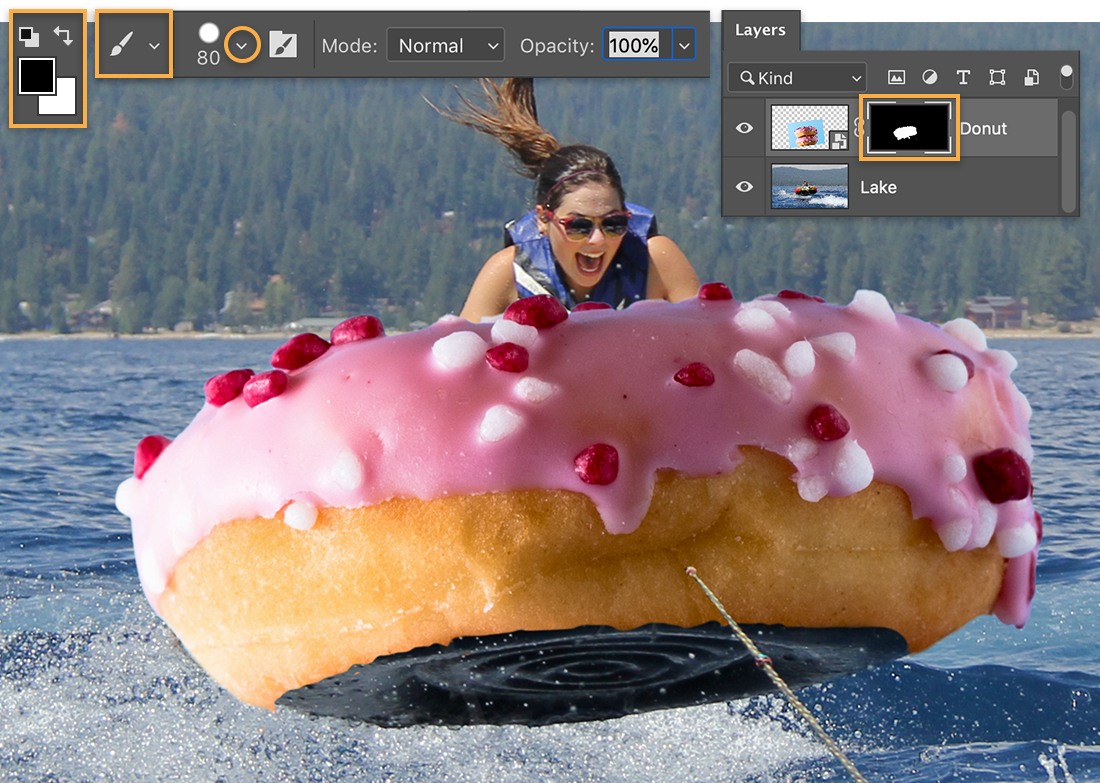 Brush tool set to black and size is 80, mask thumbnail highlighted on Layers panel, donut is wrapped around the inner tube