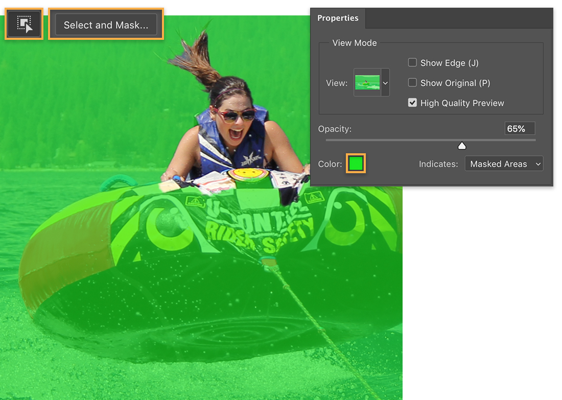Object Selection tool and Select and Mask highlighted, green overlay appears over image of girl in tube