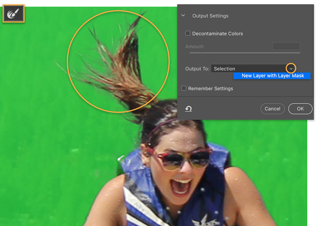 Refine Edge brush is highlighted, green overlay over girl, callout around her ponytail, output to New Layer with Layer Mask