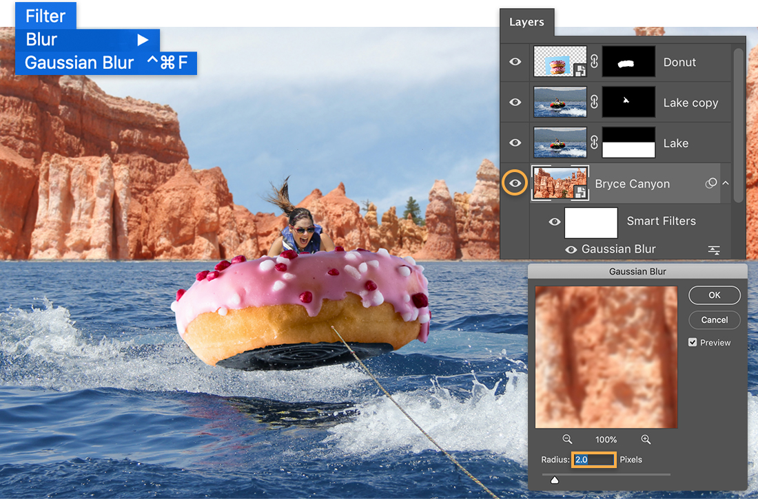 Filter > Blur > Gaussian Blur menu over image of girl in inner tube, Bryce Canyon is the new background above the lake