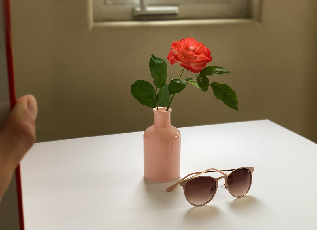 Red flower in pink vase & sunglasses on light-colored table, thumb holds a board on the left, bottom portion of window above