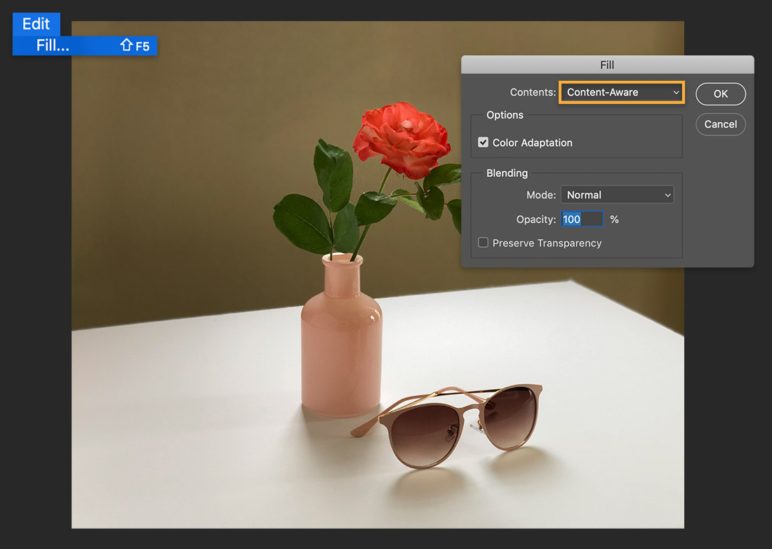 Edit > Fill menu over image of flower in vase & sunglasses, Fill dialog shows Contents set to Content-Aware